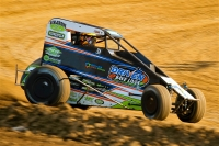 Tyler Courtney recorded his first career USAC National Midget points-race win Tuesday night in the Indiana Midget Week opener at Montpelier Motor Speedway.