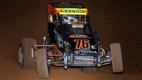 Brady Bacon captured his fifth career Western World win Saturday night in the USAC NOS Energy Drink National and Western States Midget portion of the event at Arizona Speedway.
