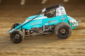 "Chase Stockon will run the teal Ovarian Cancer Awarenss Month colors in honor of his mother, Laura, on his USAC AMSOIL National Sprint Car this Saturday night, Oct. 1 for the ""Fall Nationals"" at Lawrenceburg (Ind.) Speedway."
