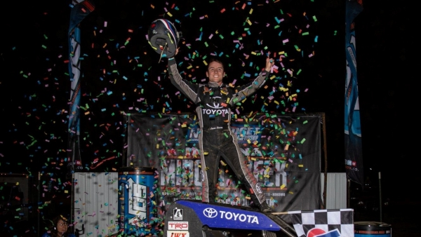 "Logan Seavey celebrates the victory in Tuesday's ""Indiana Midget Week"" opener at Montpelier."