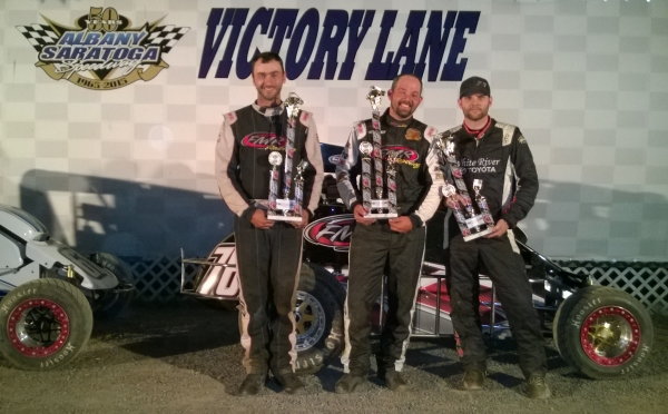 Winner Adam Pierson is flanked by runner-up Josh Sunn and third-place Kevin Chaffee at Albany-Saratoga.