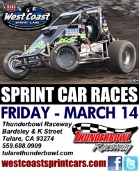 WEST COAST SPRINTS FRIDAY AT TULARE'S THUNDERBOWL