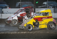 Teammates Will Hull #3 and Seth Carlson #2 battle for the lead in USAC DMA action at Vermont's Bear Ridge Speedway.