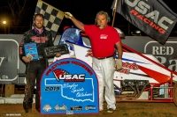 Steven Shebester celebrates his victory in Friday night's USAC Wingless Sprints Oklahoma opener at Red Dirt Raceway.