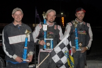 Tim Hodge and Josh Sunn flank DMA Midget winner Adam Pierson at Bear Ridge Speedway.