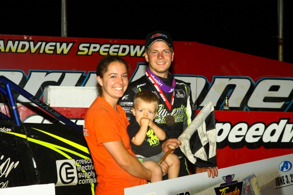 Chase Stockon enjoys victory lane with his family at Grandview Speedway