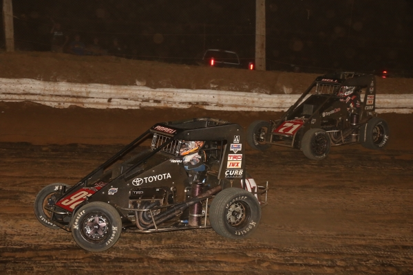 Rico Abreu (97) held off teammate Christopher Bell (71) to win Tuesday's Honda National Midget event at Path Valley Speedway Park in Spring Run, Pennsylvania.