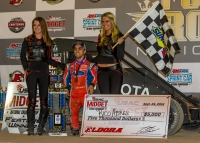 "Rico Abreu celebrates in victory lane after claiming victory in Saturday night's ""4-Crown Nationals"" USAC National Midget feature at Eldora Speedway."