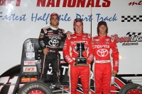 "Teammates (left to right) Rico Abreu, Christopher Bell & Tanner Thorson filled the podium Saturday in the ""Belleville Midget Nationals"""
