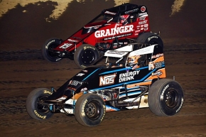 "Chris Windom (inside) battles Kevin Thomas, Jr. for position on his way to victory in Friday's ""River Town Showdown"" at Tri-City Speedway."