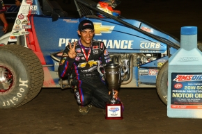 Bryan Clauson celebrates his Indiana Sprint Week title.