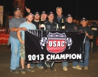 Danny Faria Jr. celebrates his 2013 USAC West Coast title.