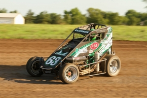 "Bryan Clauson became the first two-time winner of the ""Chad McDaniel Memorial"" Wednesday night at Solomon Valley Raceway in Beloit, Kans."