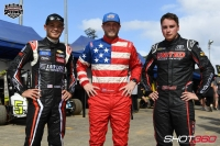 From left to right: Kyle Larson, Tyler Courtney and Christopher Bell