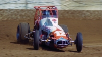 1980 USAC Dirt Champion Gary Bettenhausen on the hammer at the Indiana State Fairgrounds.