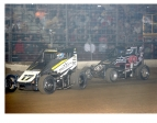 "Ricky Stenhouse, Jr. (17) works past Bryan Clauson to take the late-race win in Saturday's ""Junior Knepper 55."""