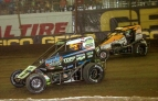 Tyler Courtney battles Kyle Larson in the 2017 Chili Bowl Midget Nationals.