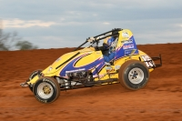 Aaron Farney in action last Friday night at Bloomington (Ind.) Speedway