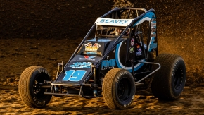 Logan Seavey on the night of his first career USAC AMSOIL National Sprint Car victory at Kokomo (Ind.) Speedway in August of 2019.