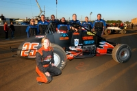 Miranda Throckmorton and the Eddie Sachs Racing Team pose prior to the May 24 Hoosier Hundred at the Indiana State Fairgrounds.