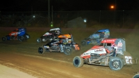 USAC NOS Energy Drink National Midget action in 2019.