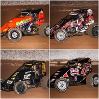 "Top-4 in USAC AMSOIL National Sprint Car points heading into this weekend's ""Oval Nationals"" Nov. 9-10-11 at Perris (Calif.) Auto Speedway. Clockwise from top left: Chris Windom, Justin Grant, Kevin Thomas, Jr. and Tyler Courtney."