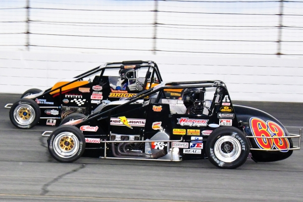 "The Swanson Brothers: Kody (#63) and Tanner at Lucas Oil Raceway's ""Carb Night Classic"" last Friday night."