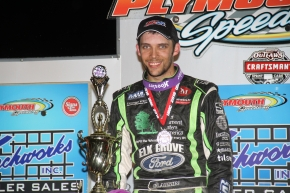 Bryan Clauson in victory lane after a USAC Indiana Midget victory at Plymouth Speedway in May 2016.