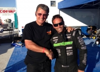 Damion Gardner poses with Bonneville legend Ron Main.