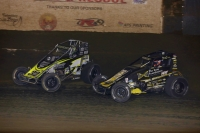 #32 Chase Stockon and #4 Justin Grant battle at Perris Thursday.