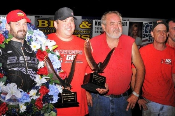 "Jon Stanbrough and his owner/crew celebrate an ""Ultimate Challenge"" victory."