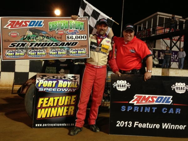 "Dave Darland celebrates his ""Eastern Storm"" win on the Port Royal front-stretch..."