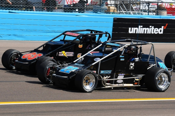 "Race winner Bobby Santos (#22) and USAC Silver Crown point leader Kody Swanson (#63) alongside each other at the start of last Saturday's ""Phoenix Copper Cup"" at Phoenix Raceway."