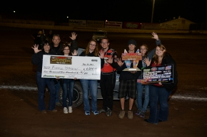 Ronnie Gardner and crew celebrate after another Western States Midget win on Saturday night at Ventura.