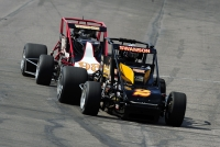 "Tanner Swanson (#02) leads Chris Windom (#98) into turn one during Saturday afternoon's Vatterott College ""Silver Crown Showdown"" at Gateway Motorsports Park in Madison, Illinois."