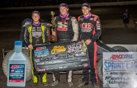 Saturday's Tri-State winner Carson Short (middle) is flanked by 2nd place finisher Kyle Cummins (right) and 3rd place finisher Chase Stockon (left) in victory lane.