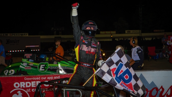 Kody Swanson celebrates his fourth consecutive victory in the Joe James/Pat O'Connor Memorial Saturday night at Salem Speedway.