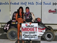 "Chad Boat in victory lane after winning the 2016 ""Belleville Midget Nationals."""