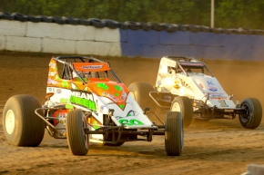 Brady Bacon leads Robert Ballou at the Terre Haute Action Track in May 2016.