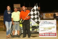 Brad Racer in victory lane after winning last Saturday night's USAC Midwest Thunder Midget feature at Waynesfield Raceway Park.