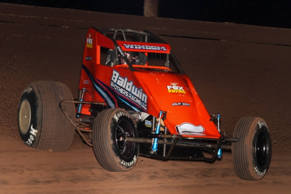 "Chris Windom won his first career USAC Southwest Sprint Car feature Friday night at Arizona Speedway on night one of the 49th ""Western World Championships."""