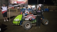 Randi Pankratz poses after winning at Bakersfield.