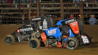 Cannon McIntosh (Black) won the closest finish of the 2020 USAC National season over Chris Windom (#89) in the NOS Energy Drink National Midget event on Sept. 4 at Missouri's Sweet Springs Motorsports Complex.